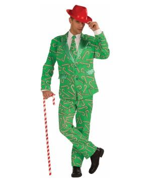 Christmas Candy Cane Men Suit