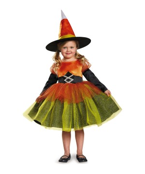 Girls Candy Corn Witch Costume
