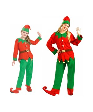 Christmas Elf Adult and Kids Costume Set