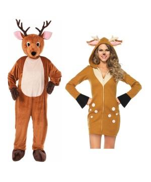 Christmas Reindeer Mascot Men Costume and Reindeer Women Costume Set