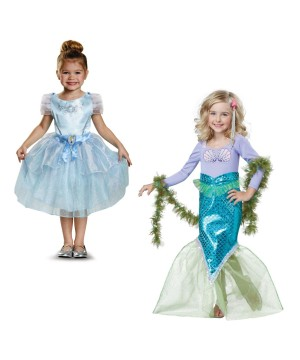 Cinderella Costume and Magical Mermaid Girls Costumes Set