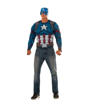 Civil War Captain America Muscle Shirt and Mask Men Set