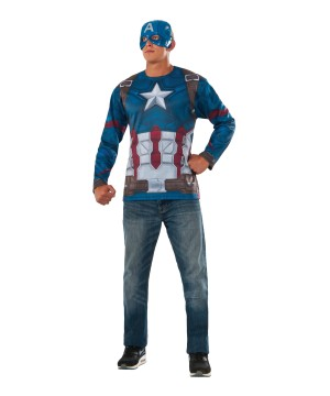 Civil War Captain America Shirt and Mask Men Set