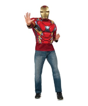 Civil War Iron Man Muscle Shirt and Mask Men Set