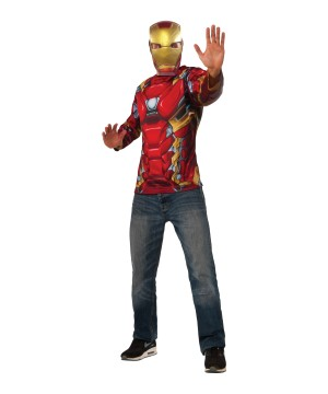 Civil War Iron Man Shirt and Mask Men Set