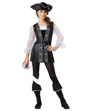 Dark Pirate Tween Girls Costume