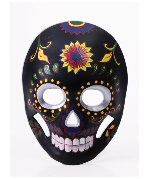 Day of the Dead Mask Black Flower Skull