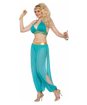Desert Princess Dancer Green Women Costume