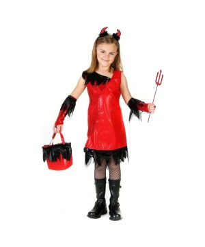 Devil Girls Costume and Sequined Pitchfork Set