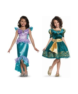 Disney Princesses Ariel and Merida Girls Costume Set