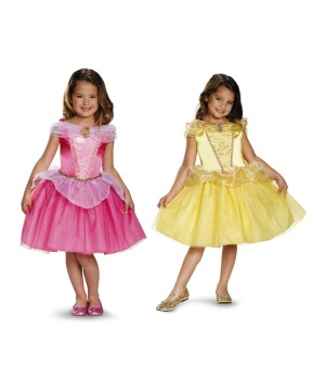 Disney Princesses Auroa and Belle Girls Costume Set