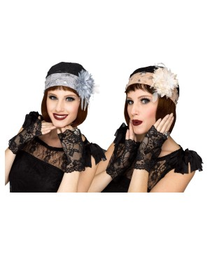 Flapper Cloche and Gloves Set