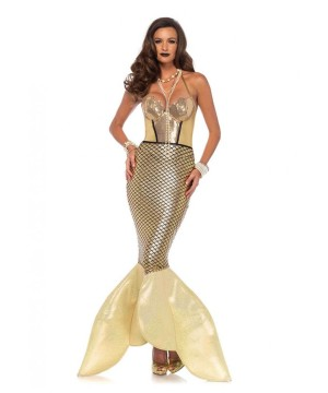 Golden Glimmer Mermaid Women Costume