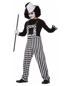 Harlequin Black and White Overalls Mens Costume