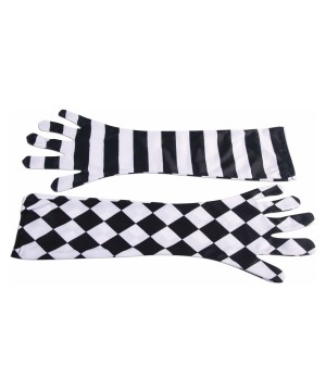 Harlequin Clown Opera Gloves