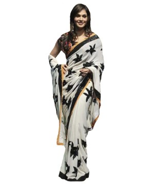 Bollywood Ivory Saree With Black Sequins