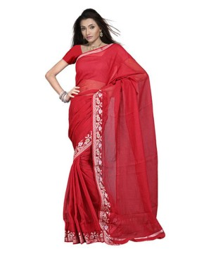 Kota Doria Cotton Red Saree With Blouse Fabric