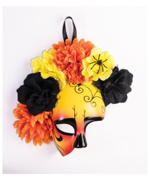 Day of the Dead Yellow Orange and Black Mask