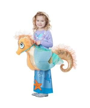 Mermaid Riding a Seahorse Girls Rider Costume