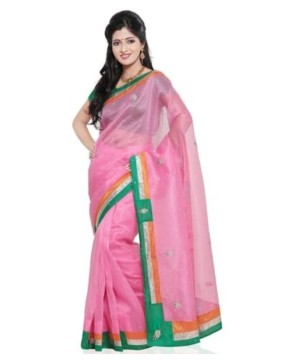 Super Net Pink Pure Cotton Saree