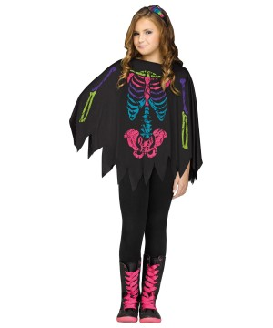 Poncho Girls Skeleton Costume