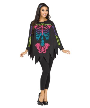 Rainbow Colored Skeleton Women Poncho