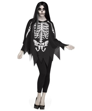 Poncho Skeleton Women Costume