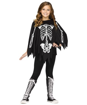 Poncho Skeleton Girls Costume