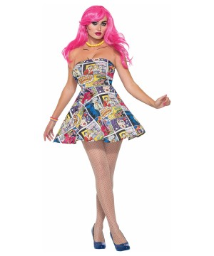Pop Art Comic Book Printed Dress Women Costume
