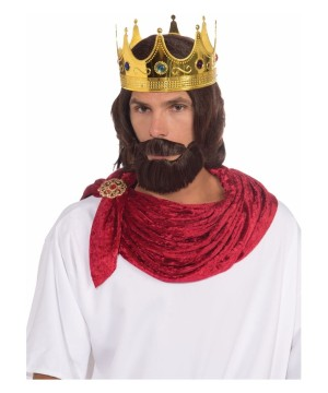 Regal King Crown and Facial Hair Men Costume Kit