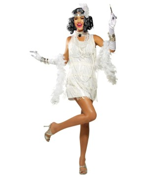 Snazzy White Flapper Dress Women Costume