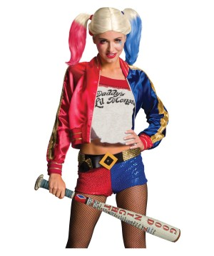 Suicide Squad Harley Quinn Wig and Inflatable Bat Set