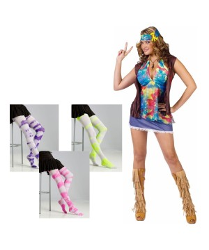 Summer of Love Women Costume and Tie Dye Stockings Set