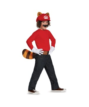 Super Mario Brothers Mario Raccoon Boys Costume Kit