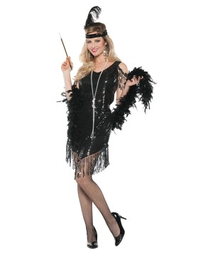 Swinging Flapper Black Women Costume