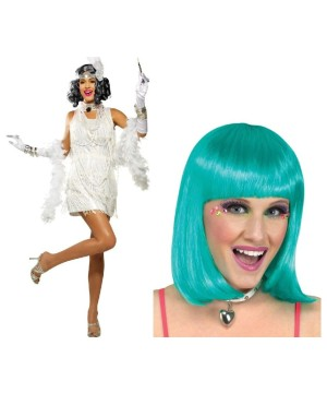 White and Aqua Flapper Woman Kit