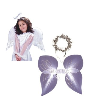 White Angel Girls Wings and Angel Women Wings and Halo Set