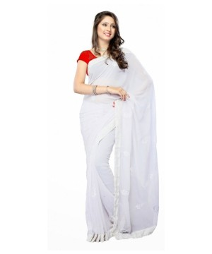Bollywood Fancy White Georgette Sari With Red Blouse