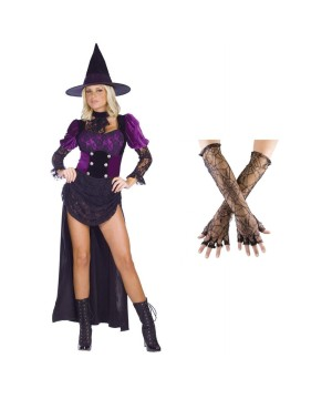 Witch Burlesque Women Costume and Spiderweb Gloves Set
