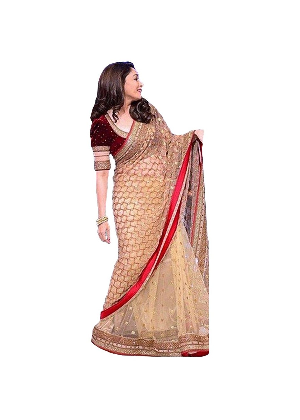 madhuri dixit golden red net bollywood design sari