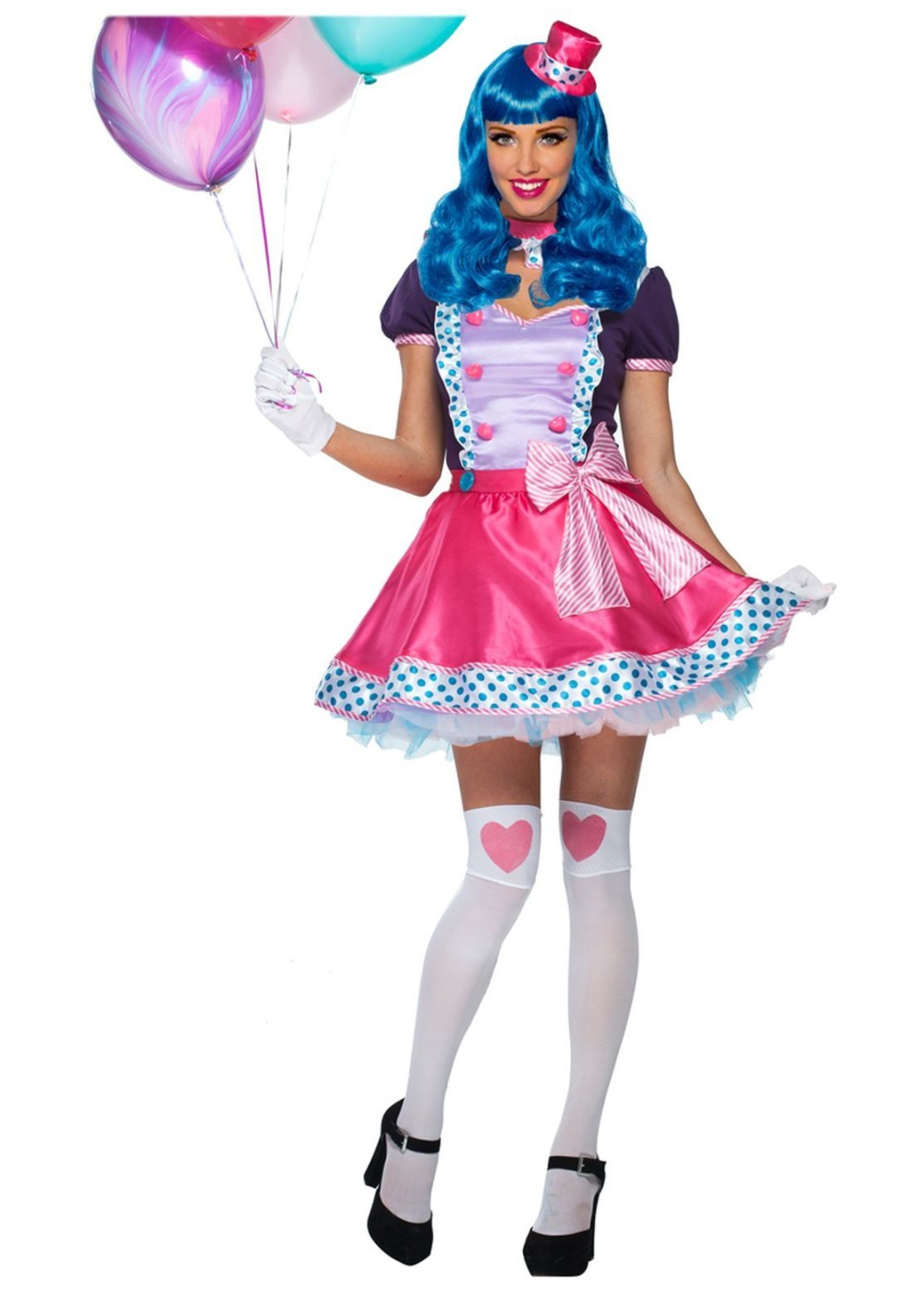 Bubble Gum Clown And Big Wig Women Set Clown Costumes