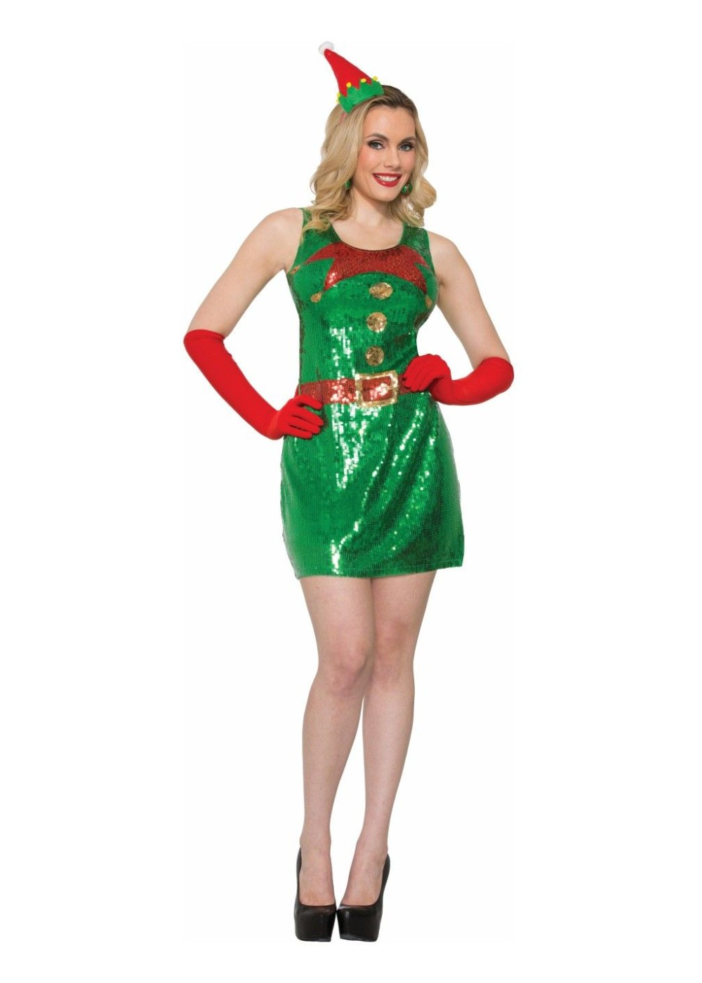 Christmas Elf Sequin Women Dress And Gloves Holiday Costumes