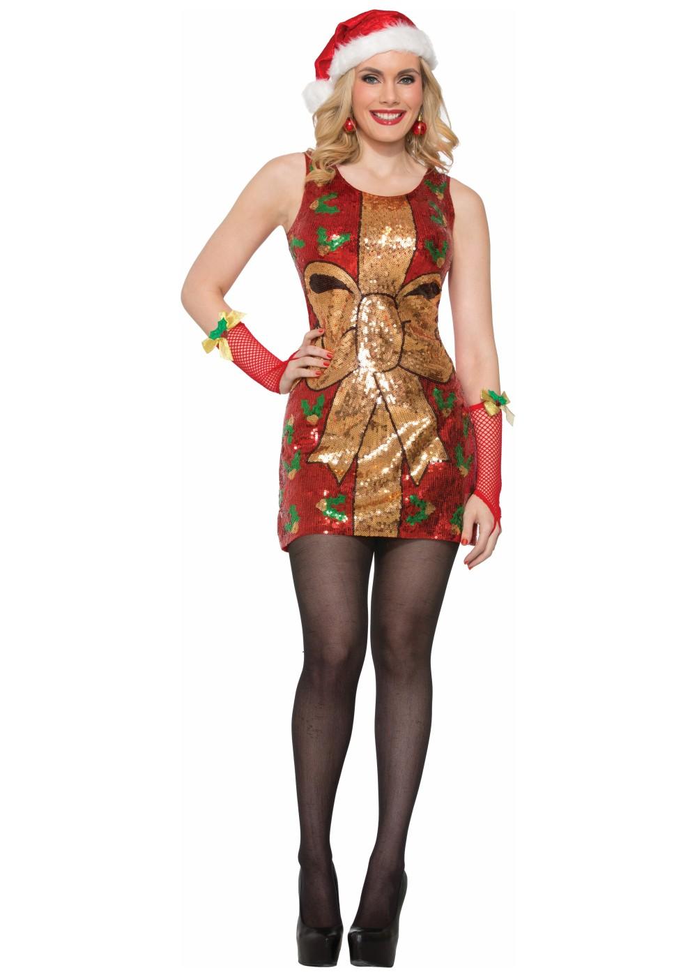 Christmas Present Sequin Women Dress Christmas Costumes