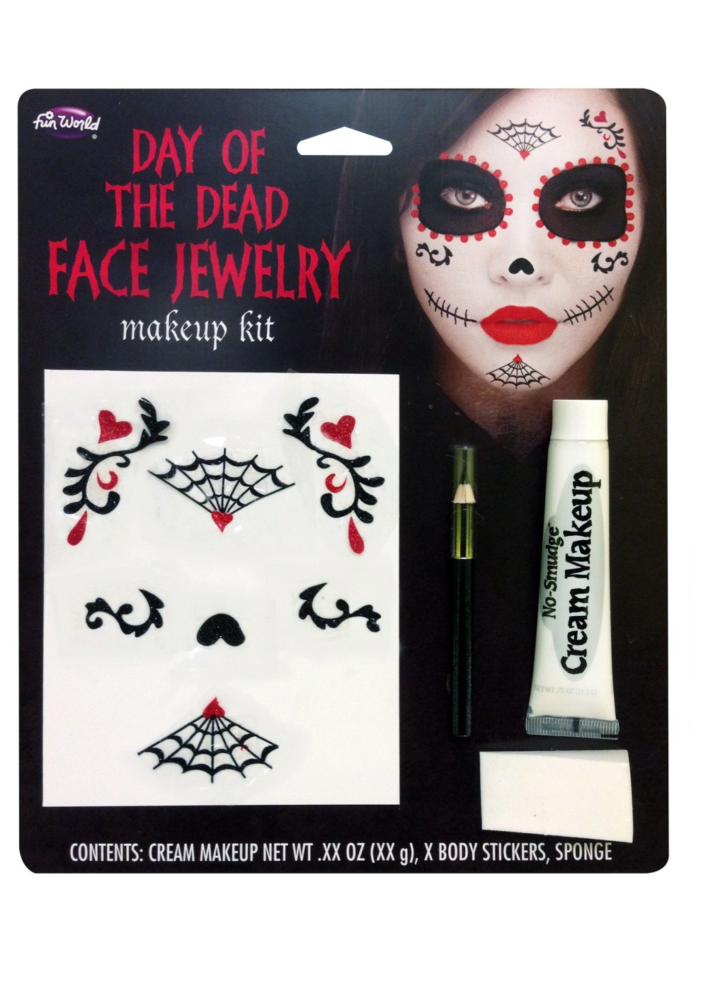 day of the dead face jewelry makeup kit accessories