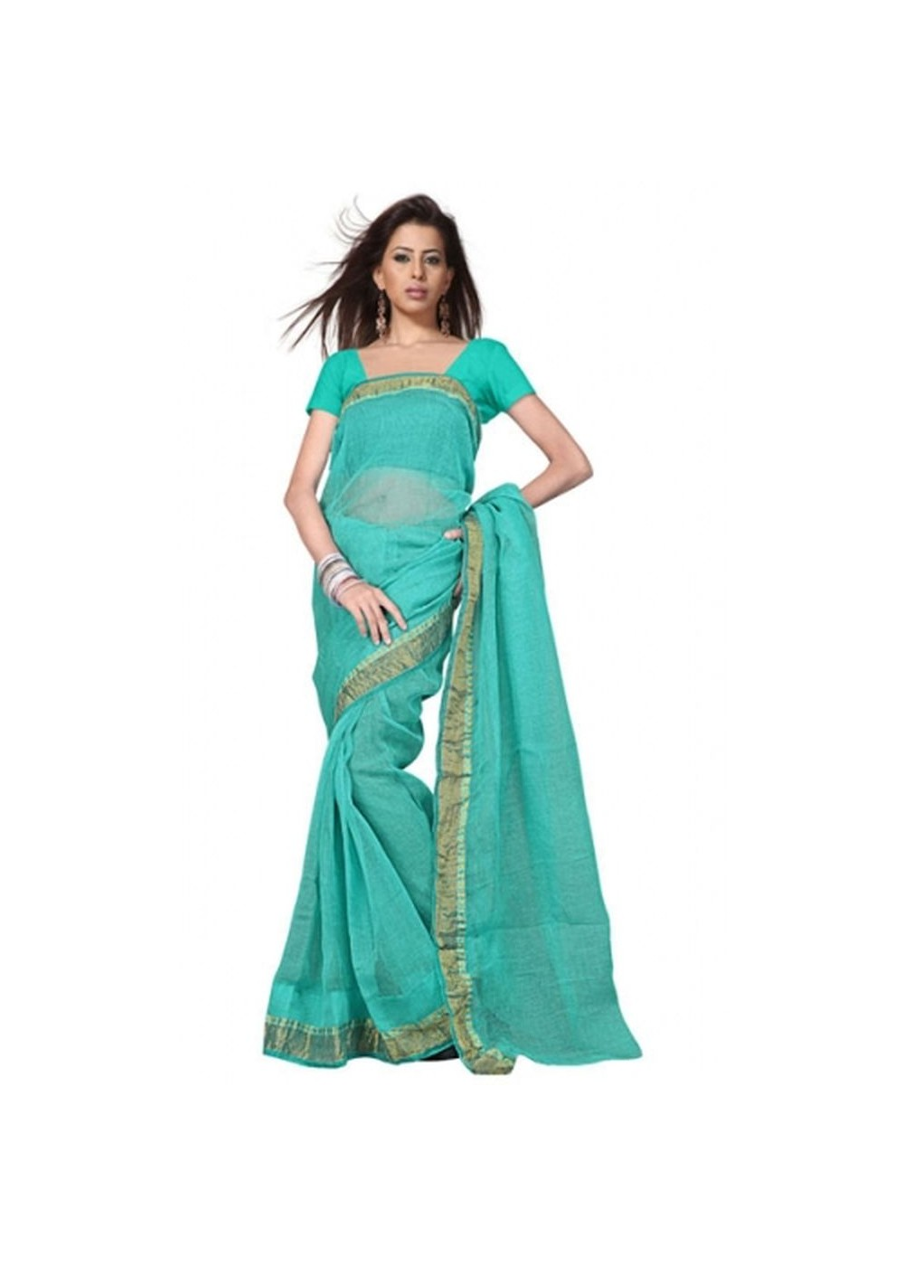 Rajasthani Kota Doria Teal Saree International Costumes