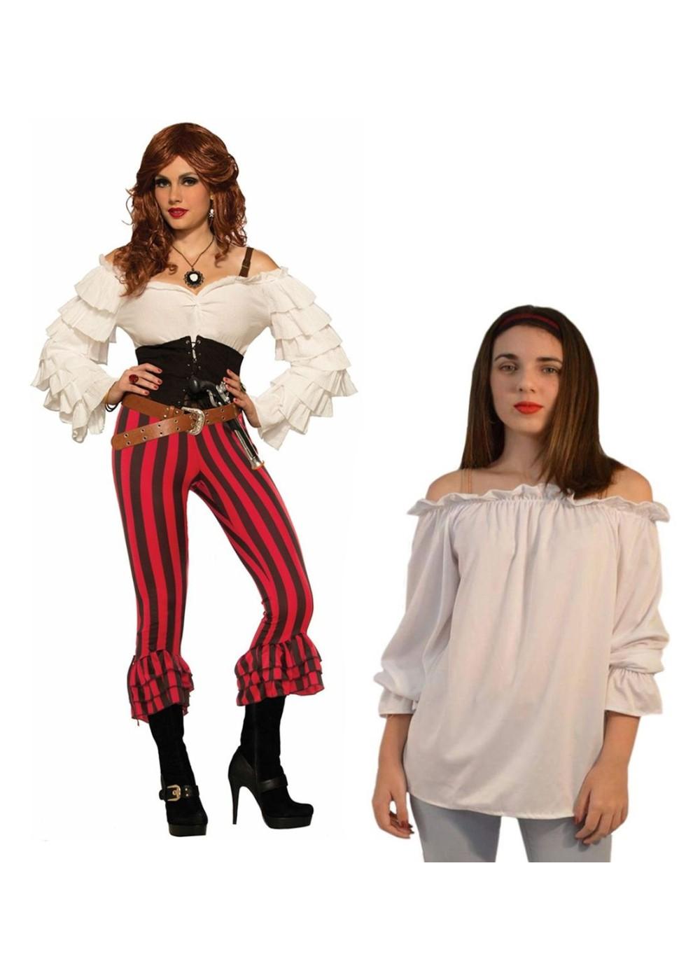 Womens White Pirate Blouse 10