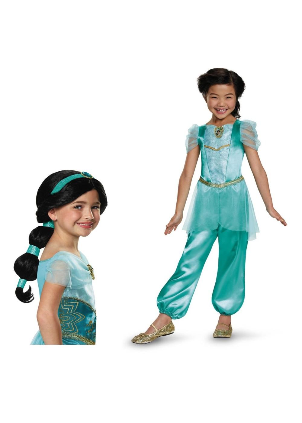 princess jasmine girls costume and wig set princess costumes. Black Bedroom Furniture Sets. Home Design Ideas