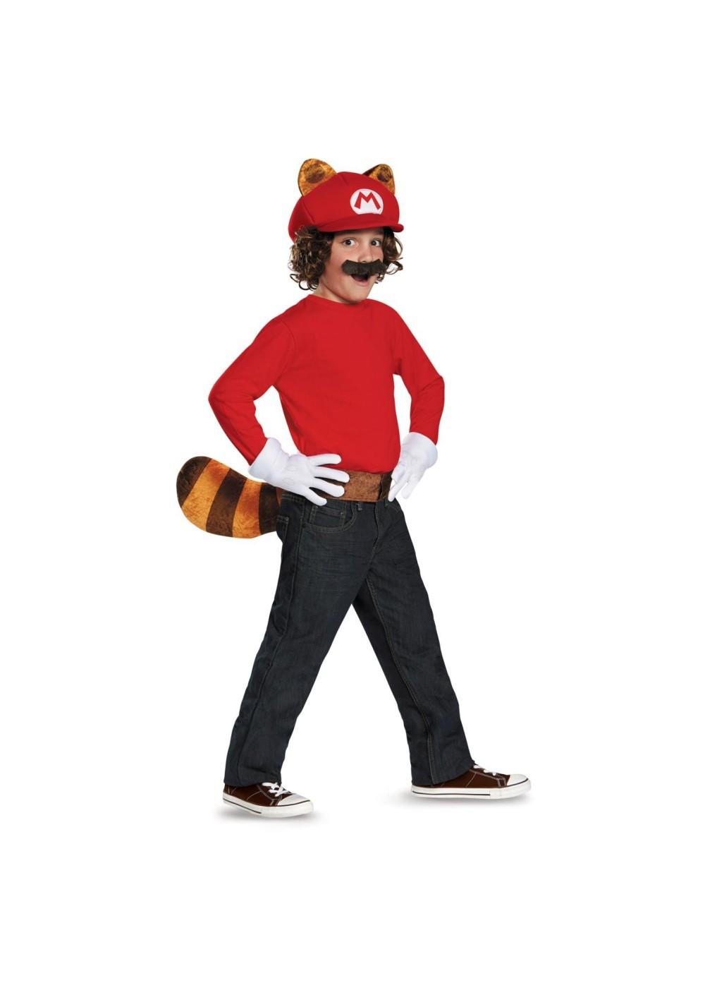 Super Mario Brothers Mario Raccoon Boys Costume Kit ...