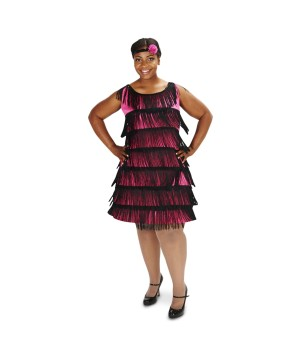 20s Pink and Black Womens plus Flapper Dress