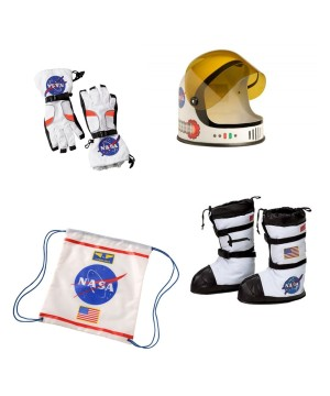 Astronaut Helmet Boots Gloves and Backpack Nasa Boys Costume Accessory Set